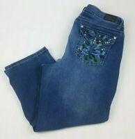 Earl Womens 16W Jeans Straight Leg Capri Cropped Pants Embellished Flap Pocket