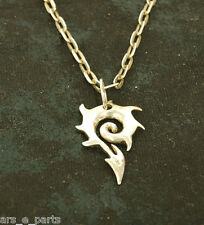 """Sterling Silver Tribal Swirl Necklace w/20"""" Cable Necklace Biker Punk Rock #653"""