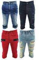 Denim King Mens Denim Shorts Stretch Regular Fit Distressed Ripped Half Jeans