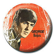 The Beatles George 25mm Button Pin Badge Official McCartney Lennon Retro