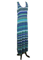 CALVIN KLEIN Women's Blue Tribal Scoop Neck Stretch Maxi Dress Sz 6 Sleeveless