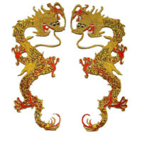 2XClassical Chinese Dragon Embroidered Patches Sequin Embroidery Sew Appliques