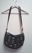Californian Black Crossbody Purse Soft Lamb Leather and Suede Shoulder Bag