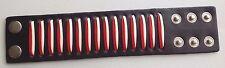 bracelet manchette rétro maintient de force du poignet cuir large déco rouge A0