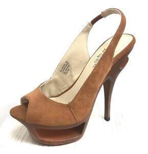 Pleaser DLX-653/BNS Brown Suede Leather Stiletto Sandals