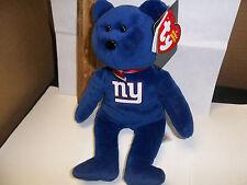 """New York Giants TY Beanie babies teddy Bear bLUE 8"""" Football Fun Party NWT"""