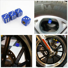 4 x ABS Plastic + Copper Blue Dice Car Tyre Tire Valve Dust Cap Covers For SUV