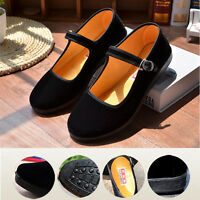 Ladies Chinese Mary Jane Shoes Ballerina Velvet Fabric Cotton Sole Flats  ! 2