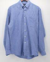 Brooks Brothers Men's Medium 346 100% Linen Blue L/S Shirt  Euc