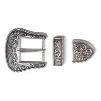 Western Retro Floral Engraved Antique Belt Buckle Set 3pcs Fits 25mm Strap Decor