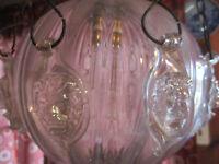 "ANTIQUE IRIDESCENT GLASS ORB EUROPEAN HANGING LIGHT LION HEADS 26"""