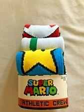 Super Mario Mens Athletic Crew Socks 3 Pair Pack Size 10-13 Nintendo Video Game