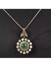 Antique Vintage 925 Silver Emerald, Ruby and Topaz Pendent with chain.