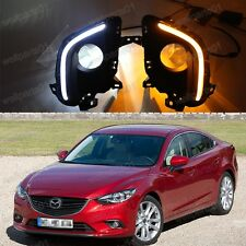 2X LED Daytime Day Fog Lights DRL Run Lamps Turn Signal For Mazda M6 2013-2015