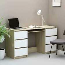 "Writing Desk White and Sonoma Oak 55.1""x19.7""x30. 3"" Chipboard"