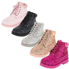 Classic Boots gefütterte Mädchen Stiefel Glitzer Reißverschluss Schnürsenkel