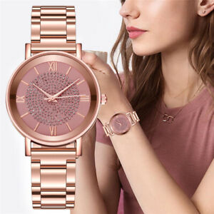 Women's Fashion Geneva Bling Crystal Stainless Steel Analog Quartz Wrist Watch