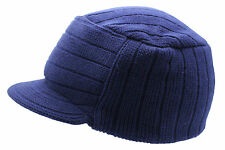 Unisex Navy Blue Urban Knitted Curved Peak Beanie Winter Peaked Ski Hat One Size