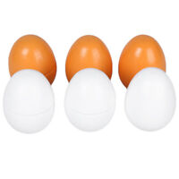 6pcs Wooden Easter Eggs Faux Fake Simulation Eggs Toy Yolk Pretend Children Play