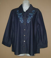 Womens Size XL Long 3/4 Sleeve Embroidered Dark Denim Paisley Floral Top Shirt