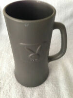 Playboy Original Dark Gray Beer Mug Stein Raised Bunny Logo Clear Glass Bottom