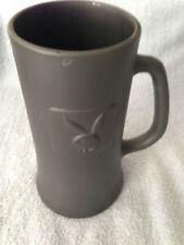 Playboy Original Dark Gray Beer Mug Stein Raised Bunny Logo Clear Glass Bottom