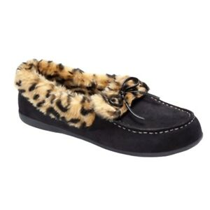 Vionic Womens Cozy Juniper Moccasin Slippers Black Leopard Bow Slip On Size 10