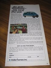 1969 Print Ad Motor Homes Inc Minihome Ford Super Econoline Van
