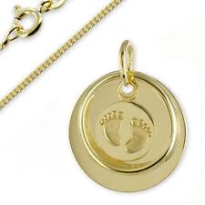 Taufkette Gravur Platte Taufring mit Babyfüße-Echt Gold333(8Karat)- &Silberkette