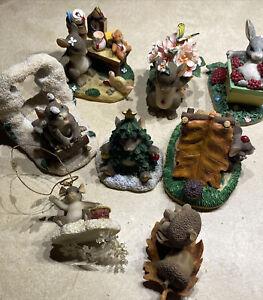 Charming Tails Figurines & Ornament Lot of 8 Dean Griff Fitz & Floyd Rare Retire