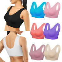 Women Soft Comfy Seamless Sport Bra Crop Top Super Stretch Vest Support 8 colors