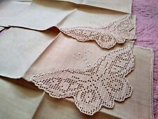 Set of 6 Madeira Butterfly Irish Crochet Lace Embroidered Linen Napkins 11""