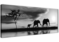 Black White African Sunset Elephants Canvas Wall Art Picture - 120cm Wide - 1363