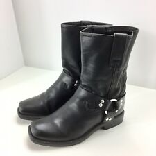 Frye Boys Girls Harness Pull On Mid Shaft Boots Size 1 Black 97203 Motorcycle