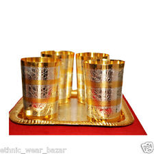 Antique Silver And Gold Plated Brass Juice Glass With Tray Set Of 4 For Kitchen