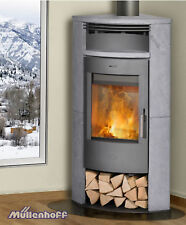 Fireplace Kaminofen Malta Naturstein, Eck-Kamin, 6 kW, Holzfach, Teefach, Kamin