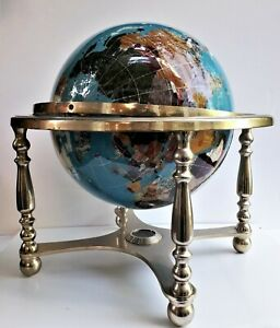 """18"""" Gemstone Rotating Globe Compass, Vintage with Gold Brass Stand"""
