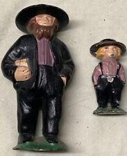 "Vintage Cast Iron Amish Man 4.5"" and Son 3"" Figurine Rare Purple Color Beard Wow"