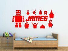 Personalised Childrens Robots Wall Art Vinyl Sticker Boys Bedroom Decor