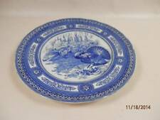 2 Antique Royal Doulton Turkey Dinner Plates Blue & White Geometric Rim Turkeys