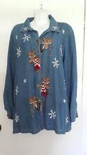 Liz & Me Denim Shirt Christmas sz 1x Reindeer Snowflake Long Sleeve Button Front