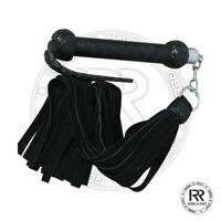 Revolving Flogger Black Cow Hid Suede Thick 25 Tails Heavy Black UK Made