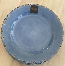 Il Mulino Set Of 6 Melamine Dinner Plates French Blue Crackled Rust Edge