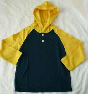 Garanimals Boys Long Sleeve Jersey Raglan Hoodie Shirt Size 3T Blue & Yellow