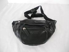 Fanny Pack Black Faux Leather Eastport Black Adjust.Waist Travel Retro Bag Pouch