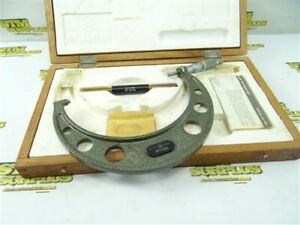 """MITUTOYO 6""""-7"""" OUTSIDE MICROMETER CARBIDE FACED .0001"""" GRADS 103-221A + CASE"""