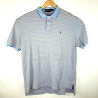 Polo by Ralph Lauren Mens Size XL Light Blue Orange 2 Button Short Sleeve Polo