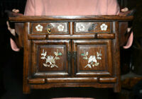 "16,4 ""porcelaine Huanghuali en bois shell Palace Flower Drawer Small Cabinet"