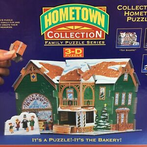 New HOMETOWN COLLECTION 3D Puzzle 100+ Pieces Christmas Bakery Rose Art 1994 Fun