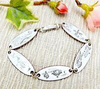 Vintage White Enamel on Copper Bracelet